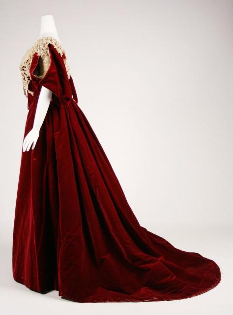 1893-95 dress worth red velvet b