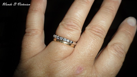 A white gold band with diamonds!