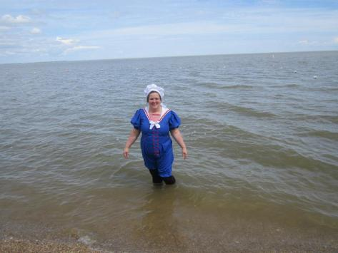 A dip in the water.  Notice the skirt is removed.