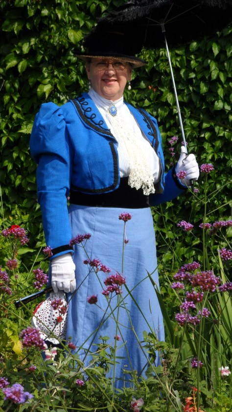 Shirley is wearing an 1898 outfit that she has just finished.