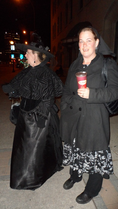 Shirley also wore her widows weeds and a friend of ours dressed as a Hutterite.  Don't worry, she was completely respectful.