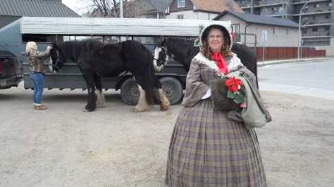 "Shirley in her 1850's outfit.  We had to do a lot of just ""hanging around"" while the horses were fixed up."