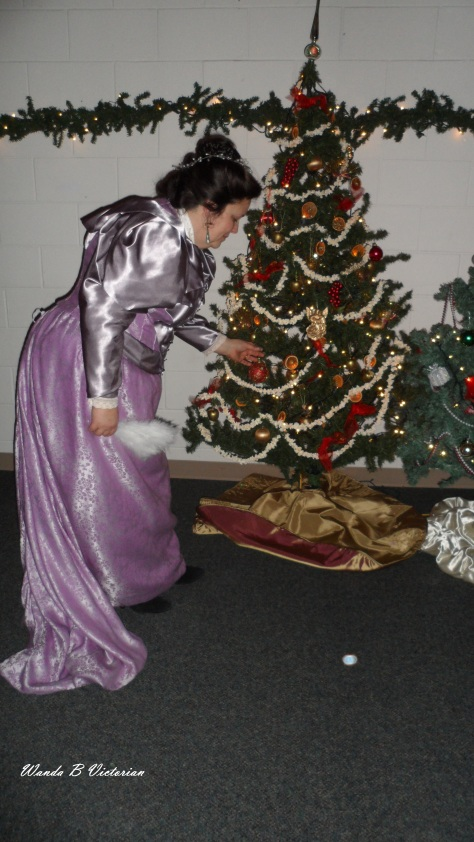 There were several trees done in Victorian decorations.