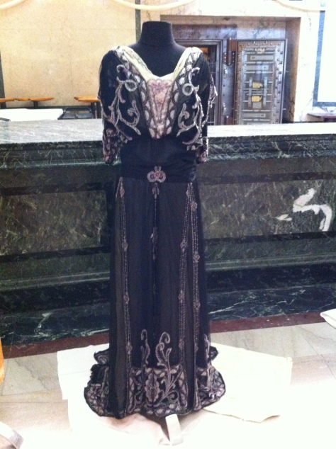 Front view of 1911 beaded gown