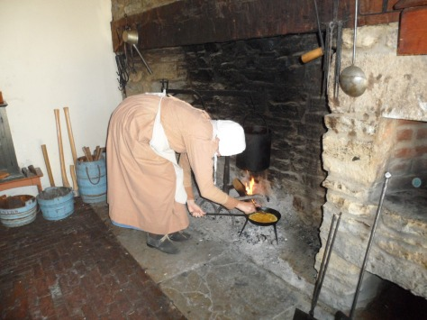 Cooking up an egg for the lady of the house.