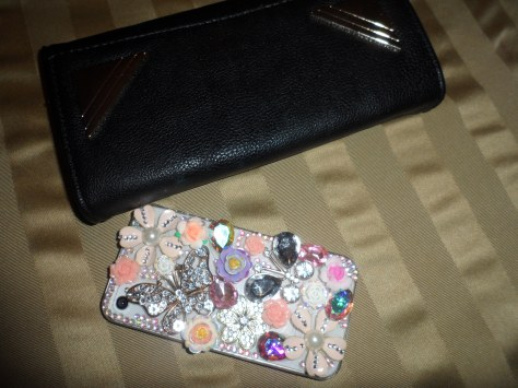 A new wallet and a  wonderfully tacky phone case!