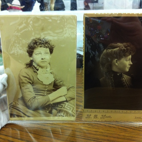 The photo on the left is from the 80's and is of a girl around 14-16 years.  The one on the right is the same girl in her 30's in the late 1890's to early 1900's