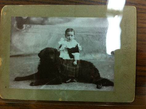 A little laddie and his dog.    So cute in his little kilt!