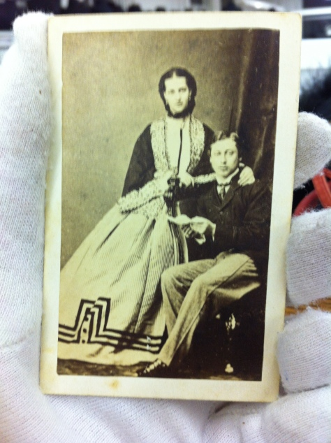 A commemerative copy of the engagement photo of the Prince and Princess of Wales Edward and Alexandria.  The trim on her skirt is to die for!