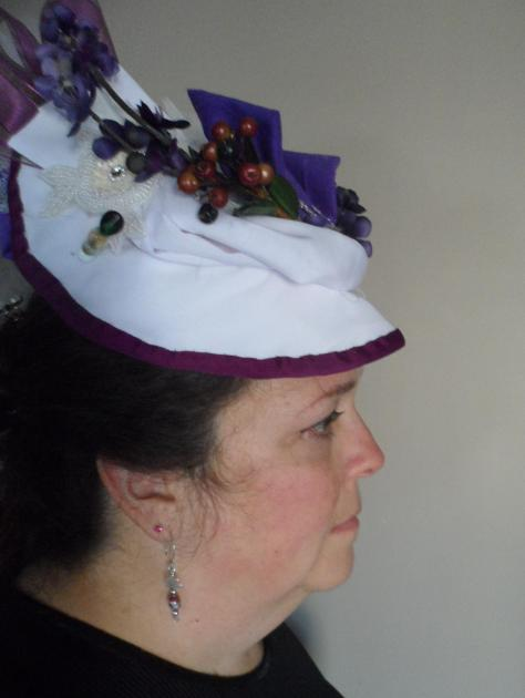 Trial run on my head.  I'll have to fiddle with my hair styles to make sure there is something to shove that hat pin through.