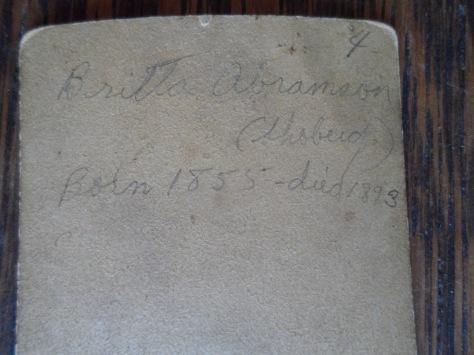 Britta Abramson (Shoberd) Born 1855-died 1893
