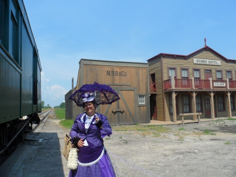 The train stopped at the set of the new Pinkerton TV series.