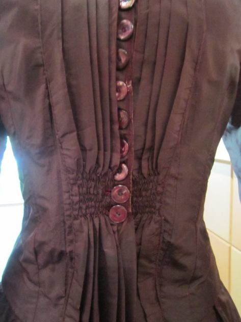1880's dress pleated brown CMC d