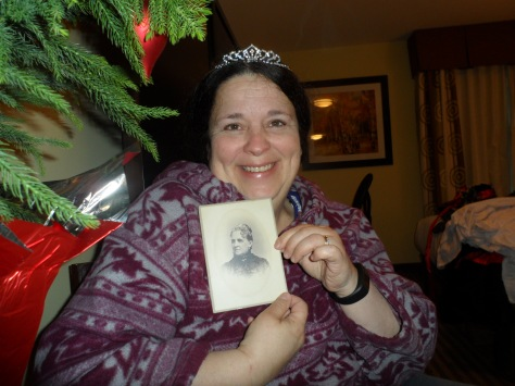"Mine was a birthday/Christmas combo with a little tiara, a cabinet card, a vintage wallet with some funny coins for ""ladies of the evening."""