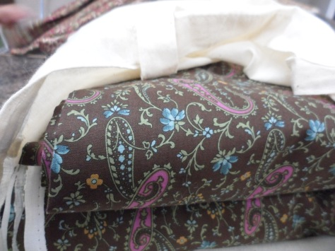 This is my fabric. I think it will be a day dress for a more common woman in the 1840's.