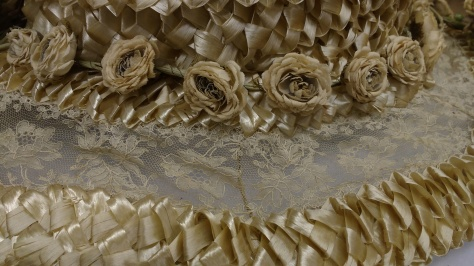 It is made out of a stunning loose weave in the straw, lace and dried flowers.  Nearly brought me to tears.