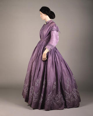 1860's dress day lilac tambour Glascow