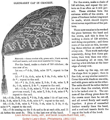 Godey's Lady's Book 1861 Crochet Glengarry Cap